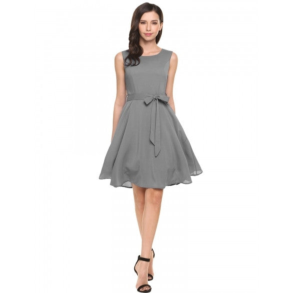 Women Summer Sleeveless Solid Belted Cocktail Party Pleated Dress