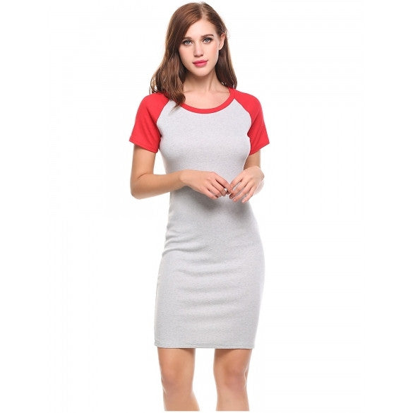 New Women Casual O-Neck Short Sleeve Patchwork Pullover Elastic T-Shirt Dress