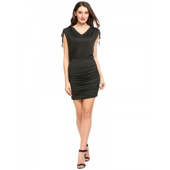 Women V-Neck Drawstring Sleeveless Stretchy Ruched Bodycon Dress