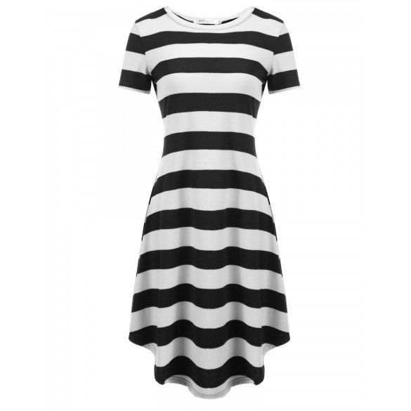 Women O-Neck Short Sleeve Striped Casual Loose Fit Tunic Dress