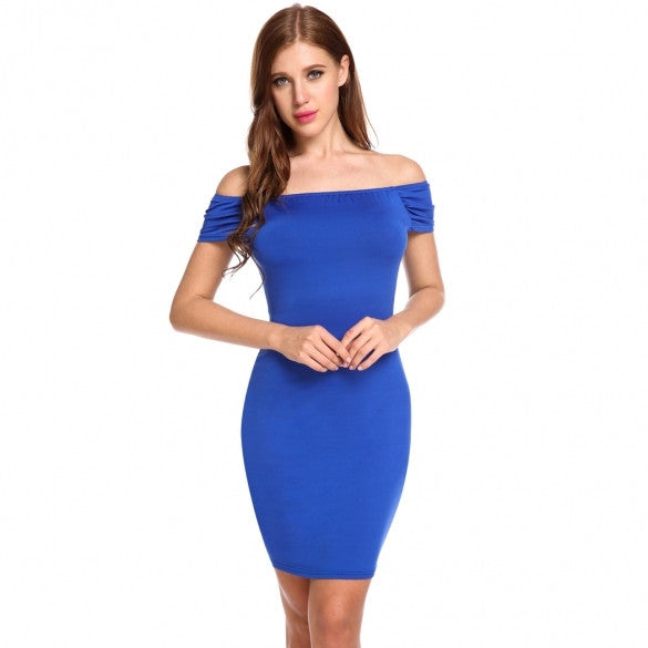 New Women Sexy Slash Neck Off Shoulder Solid Backless Elastic Pleated Slim Dress