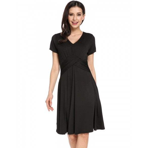 New Women Casual V-Neck Short Sleeve Solid Pleated Waist A-Line Pleated Hem Elastic Dress