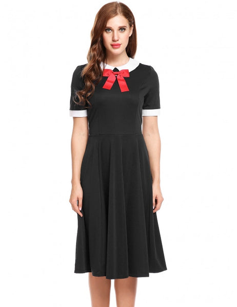 Women Vintage Styles Doll Collar Patchwork Elastic A-Line Pleated Hem Dress
