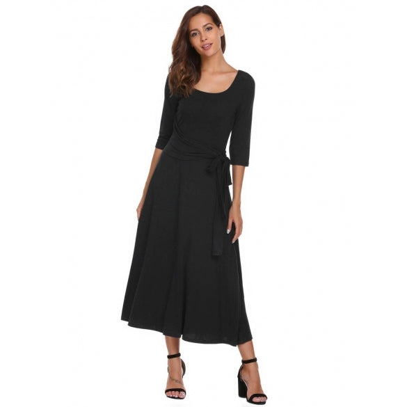 3/4 Sleeve Maxi Solid Split Hem Dress