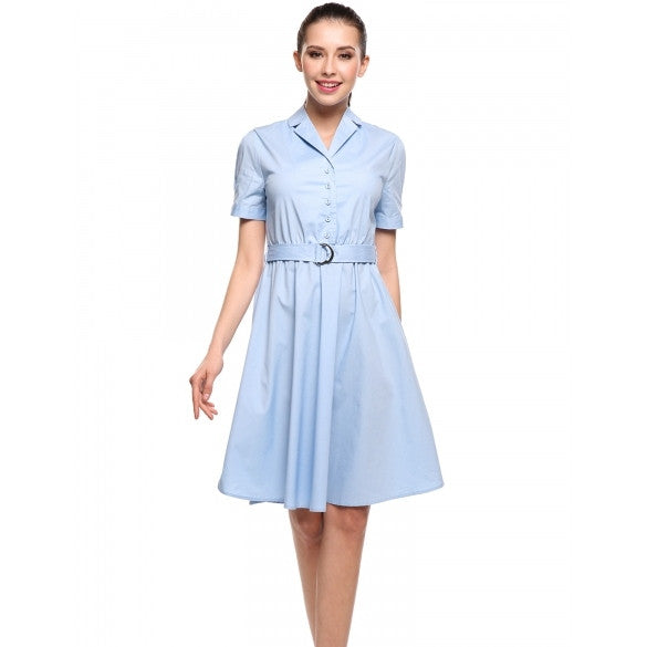 New Women Casual Turn-down Collar Short Sleeve Solid A-Line Pleated Hem Dress