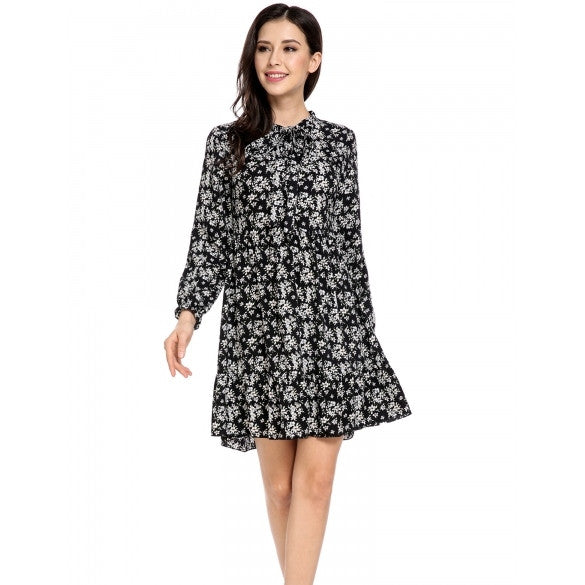 New Women Casual Stand Collar Lace-up Long Sleeve Prints A-Line Pleated Hem Dress