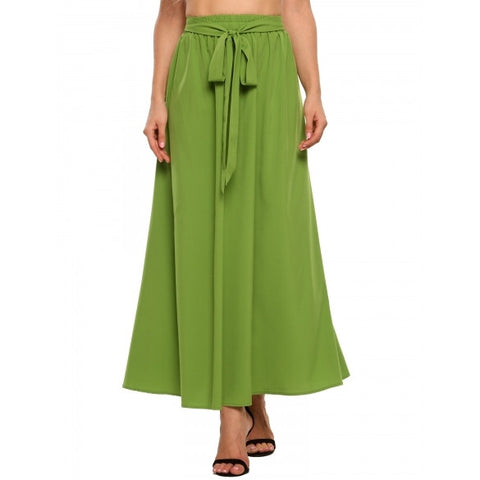High Elastic Waist Solid Maxi Pleated Skirt With Belt