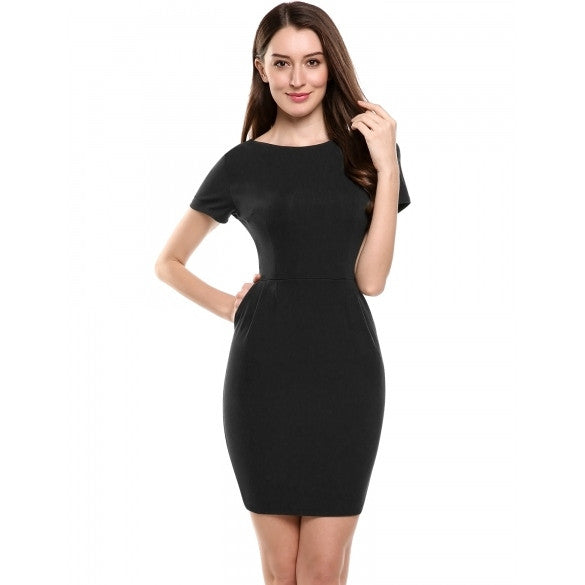 New Women Casual O-Neck Short Sleeve Solid Business Bodycon Elastic Pencil Dress With Pockets