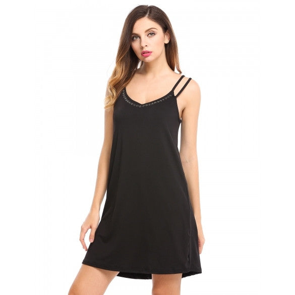 Women Casual Sleeveless Solid V Neck Spaghetti Straps Rhinestone Pullover Loose Dress