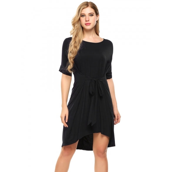 Batwing Short Sleeve Tie-Front Hi-Low Shift Dress