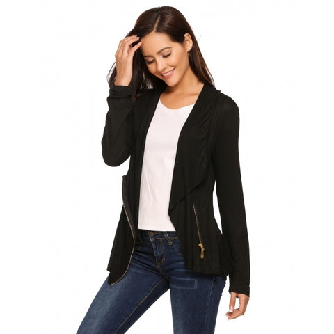 Asymmetry Long Sleeve Solid Front Zipper Cardigans