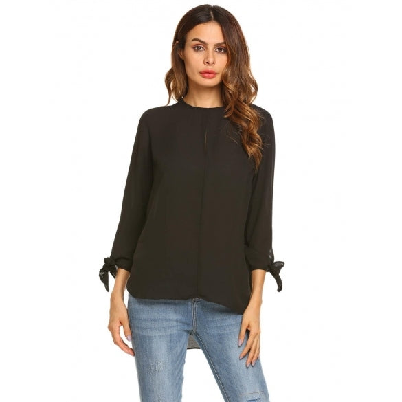 3/4 Sleeve High Low Hem Keyhole Loose Chiffon Blouse