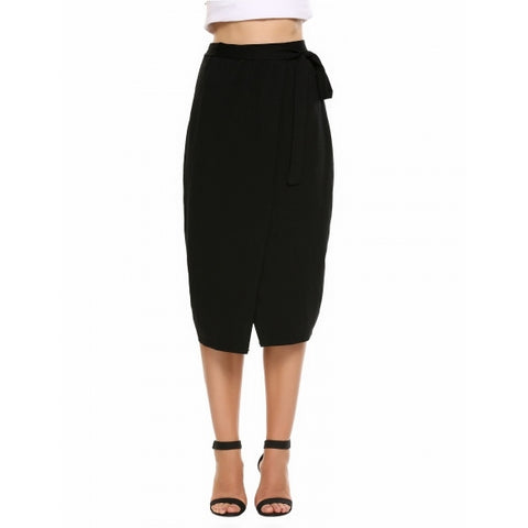 Bandage Waist Split Package Hip Pencil Skirt
