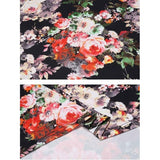 3/4 Sleeve Floral Patchwork Asymmetrical Hem Tops