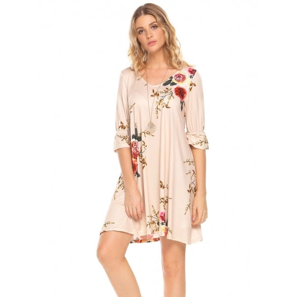3/4 Sleeve V Neck Floral Cut Out Back Dress