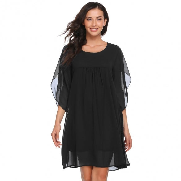 3/4 Sleeve Solid O Neck Chiffon Dress