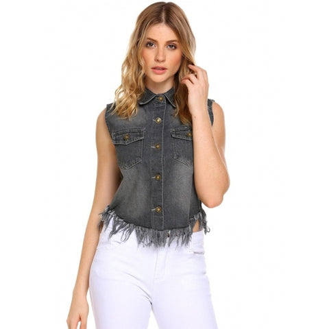 Solid Turn-down Collar Sleeveless Button Flap Pockets Denim Vest