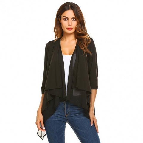 3/4 Sleeve Open Front Chiffon Patchwork Waterfall Draped Jacket