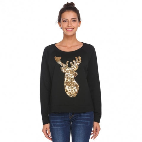 Animal Pattern Sequins Thread Hem Split Sweatshirts