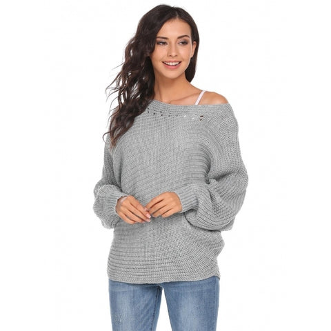 Batwing Sleeve One Shoulder Solid Loose Knit Pullover Sweater