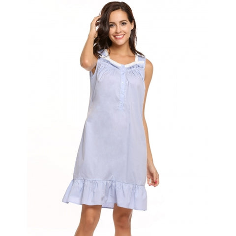 Victorian Style Square Collar Sleeveless Ruffle Hem Sleepware Dress
