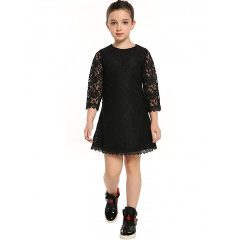 New Kid Girls Fashion Casual Elegant Floral Lace Decor 3/4 Sleeve Dress Party Dress