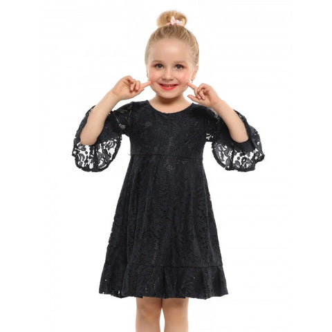 New Kids Girl O-Neck Long Sleeve Pullover Floral Pleated Lace Dress