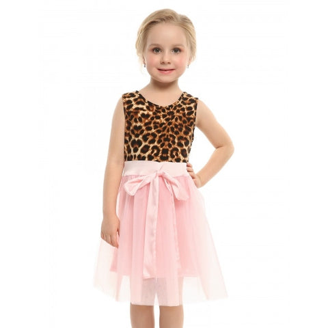 New Kids Girl O-Neck Sleeveless Patchwork Multilayer Ruffled Cute Dress