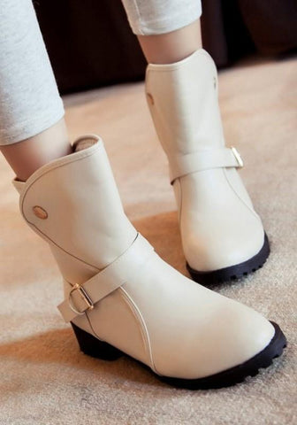 Beige Round Toe Chunky Buckle Casual Ankle Boots