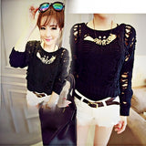 Fashion Women Hollow Out Knit Sweater Jumper Pullover Short Tops