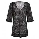 Fashion New New Fashion Women V-Neck Sexy Lace Hollow Out Beach Swimsuit Bikini Cover Up