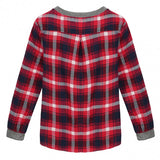 Fashion Ladies Casual Korean Style O-Neck Long Sleeve Plaid Splicing Loose Tops Blouse