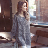 Fashion Women Korean Style Loose Round Neck Solid Knitwear Casual Sweater