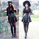 Autumn Winter Women's New Punk Rivet Synthetic Leather Skirt