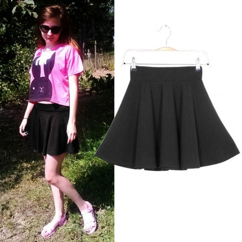 10 Colors Girls Women Skirt Candy Color Stretch Waist Solid Pleated Skater Flared Mini Skirt