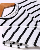 Stylish Women's Short Sleeve Striped Sexy Front Hollow Out Elastic Casual Slim Mini Dress