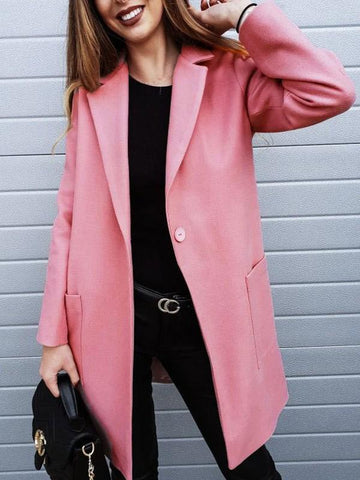New Pink Buttons Pockets Turndown Collar Long Sleeve Casual Outerwear
