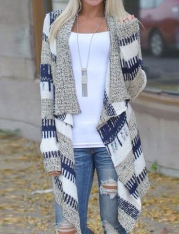 Women Irregular Long Sleeved Ethnic Printed Asymmetric Cardigan
