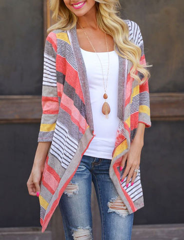 Hot Sale Colorful Stripe Cardigan with Unbalanced Hem