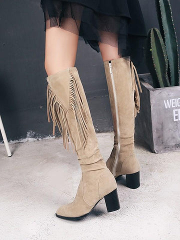 Beige Round Toe Chunky Tassel Fashion Ankle Boots