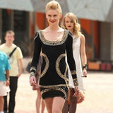 Fashion Women Sequins Long Sleeve Slim Bodycon Party Cocktail Evening Mini Dress