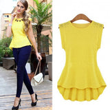Fashion Ladies Women Short Sleeve Asymmetric Hem Floral Casual Party Loose Tops Blouse