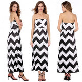 Fashion Women Ladies Sexy Strapless High Waist Striped Maxi Party Cocktail Long Dress
