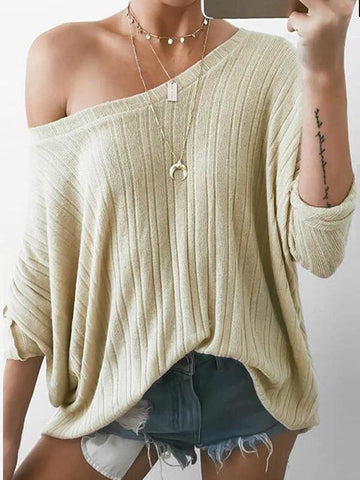 Beige Asymmetric Shoulder Long Sleeve Fashion Going out Blouse