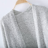 Oversized Gray Long Sleeve Knitted Cardigan Sweater