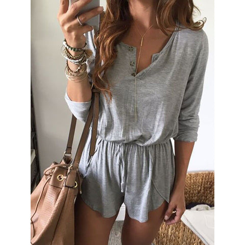 Cute Gray Long Sleeve Romper Casual Playsuit