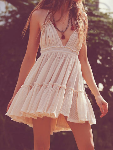 Backless Beach Holiday Lace Dress Strapless Cute Dress Sexy Summer Dress