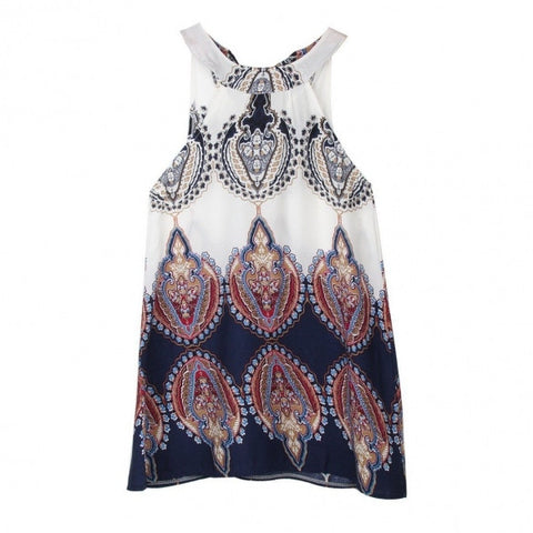Vintage Style Casual Loose Print O-neck Sleeveless Mini Shift Beach Party Dress