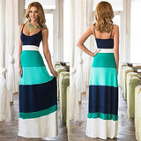 Casual Sleeveless Women Striped Maxi Patchwork Dress