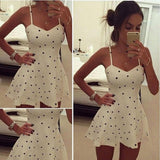 Women Strap V-Neck Dot High Waist Slim Casual Club Mini Pleated Dress